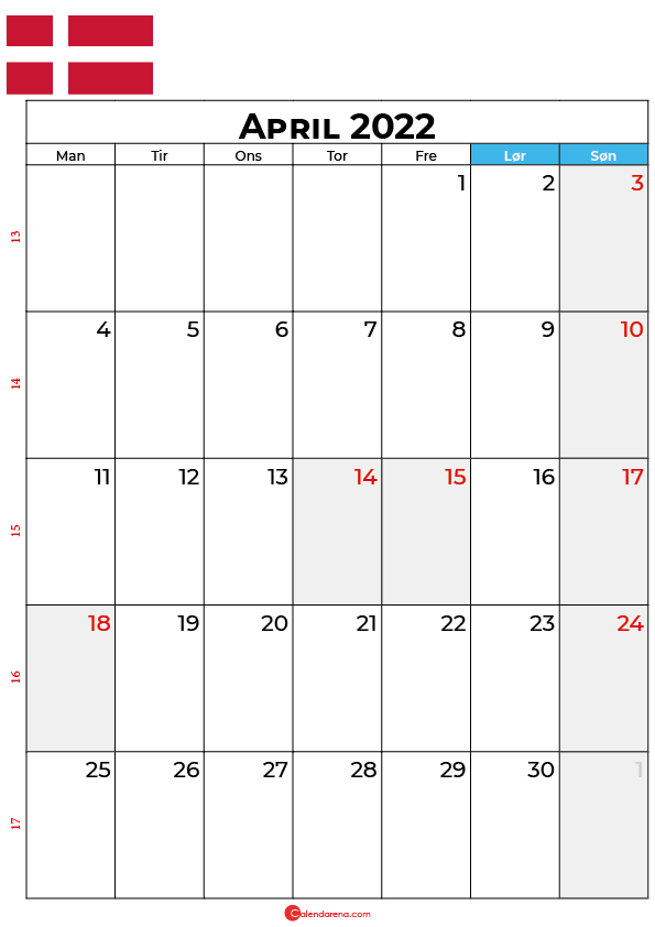kalender april 2022 Danmark