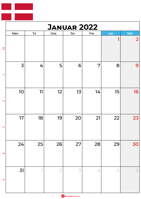 kalender januar 2022 Danmark