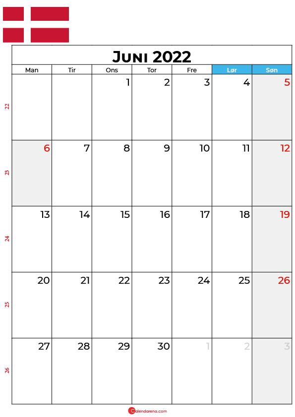 kalender juni 2022 Danmark