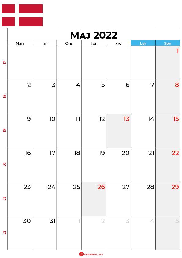 kalender maj 2022 Danmark