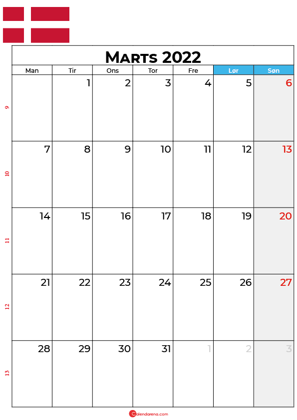 kalender marts 2022 Danmark