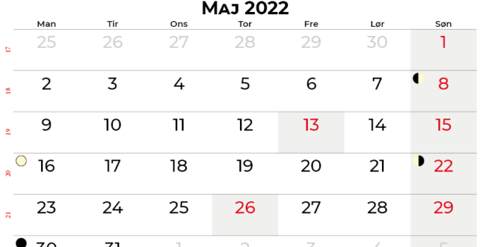 maj 2022 kalender Danmark