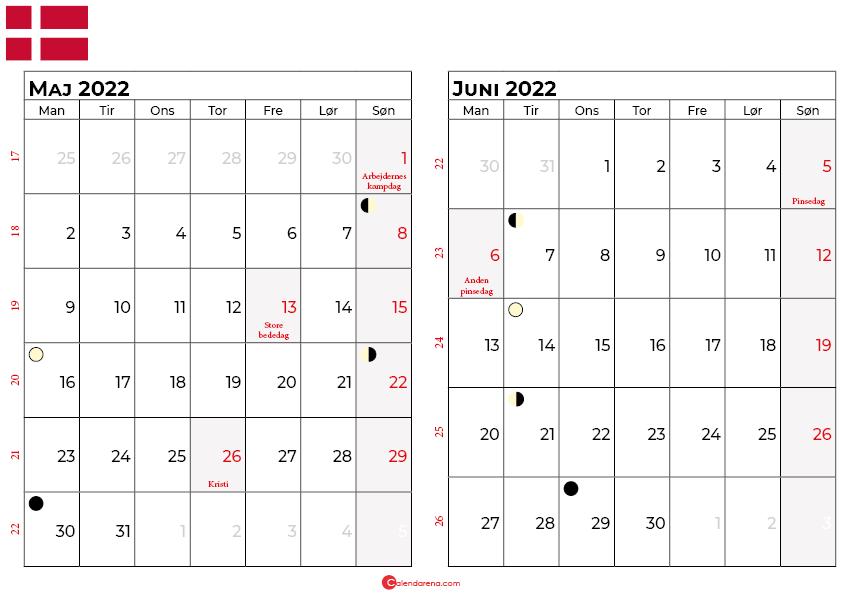 maj juni 2022 kalender Danmark