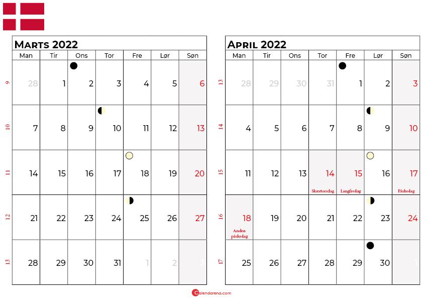 marts april 2022 kalender Danmark