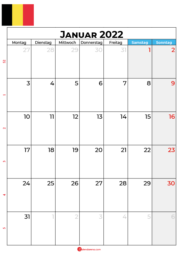 Kalender Januar 2022 zum ausdrucken Belgien