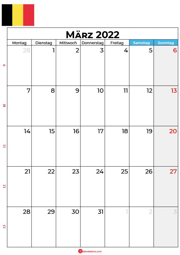 Kalender März 2022 zum ausdrucken Belgien