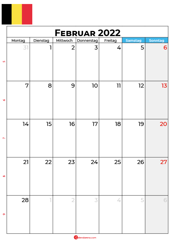 Kalender februar 2022 zum ausdrucken Belgien
