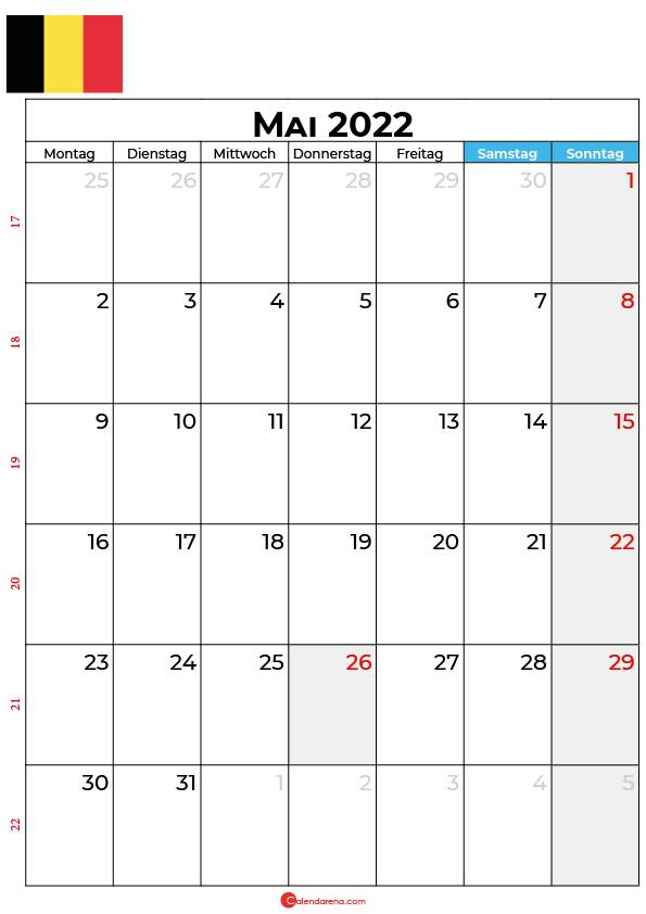 Kalender mai 2022 zum ausdrucken Belgien