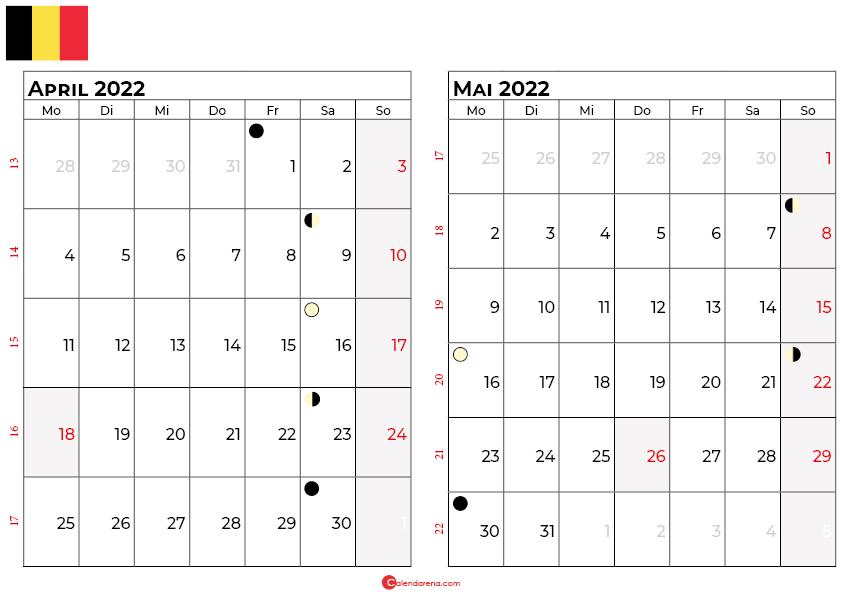 kalender 2022 april mai belgien