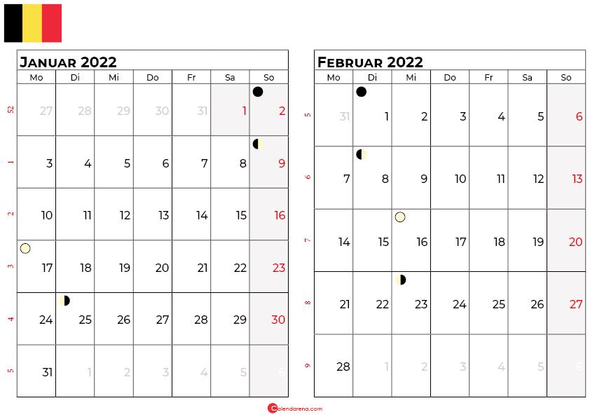 kalender 2022 januar februar belgien