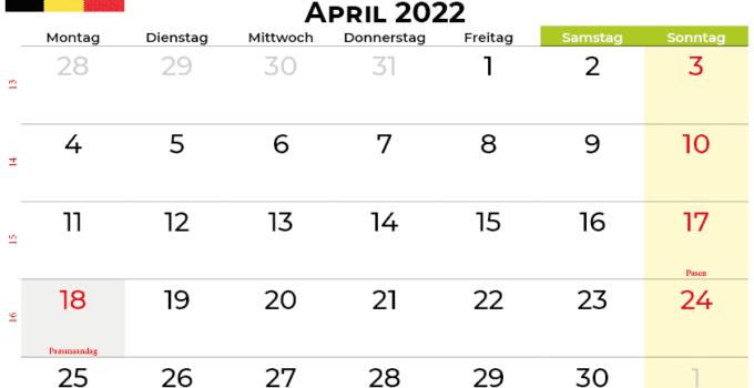 kalender April 2022 belgien