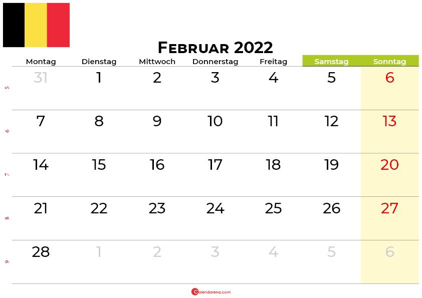 kalender Februar 2022 belgien
