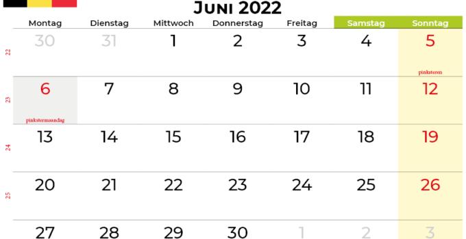 kalender Juni 2022 belgien