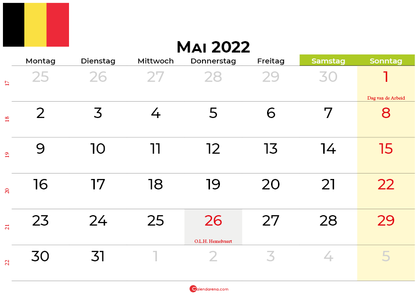 kalender Mai 2022 belgien
