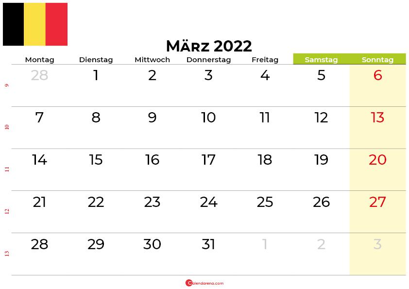 kalender März 2022 belgien