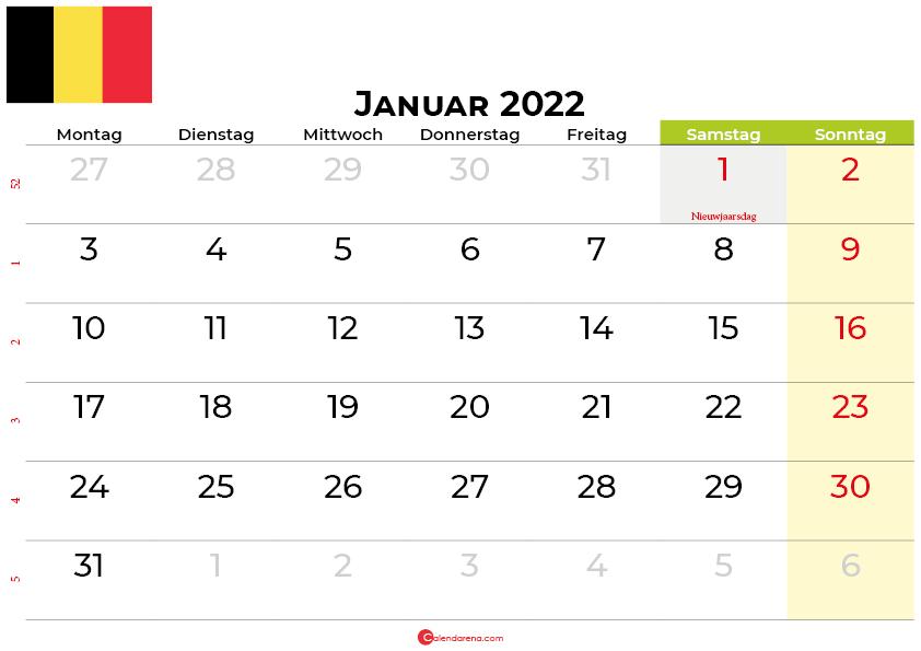 kalender januar 2022 belgien